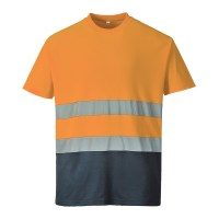 T-shirt coton bicolore Orange / Marine PORTWEST